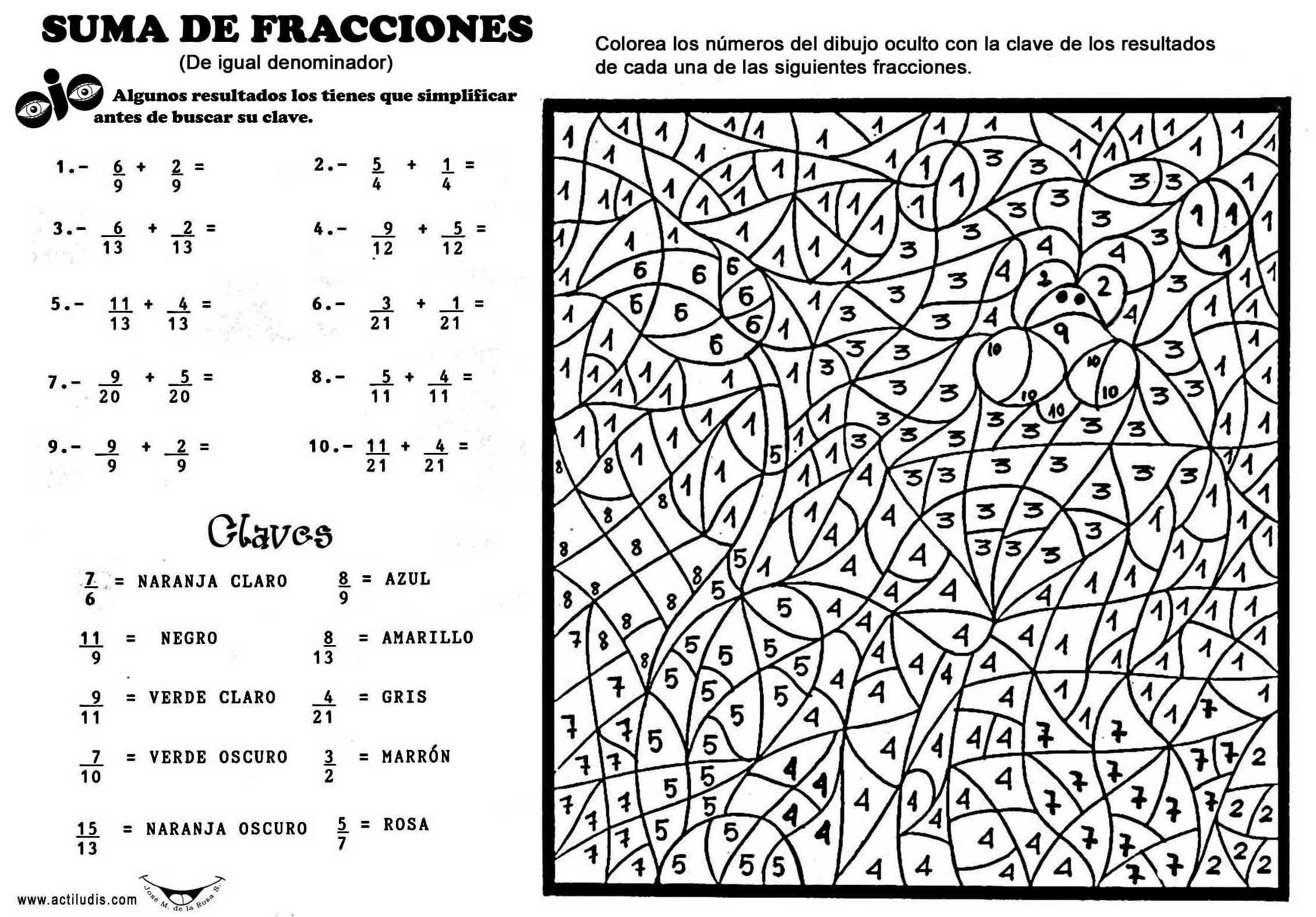Ejercicios De Fracciones Para Colorear