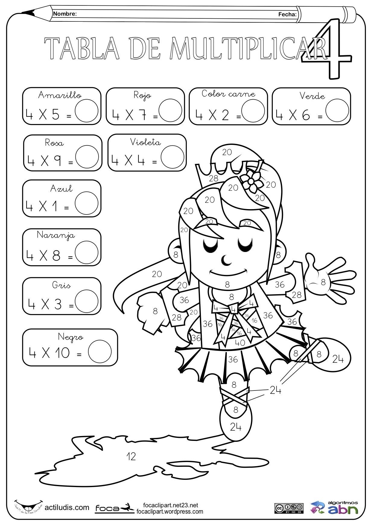 Dibujos De Tablas De Multiplicar Para Colorear Juegos
