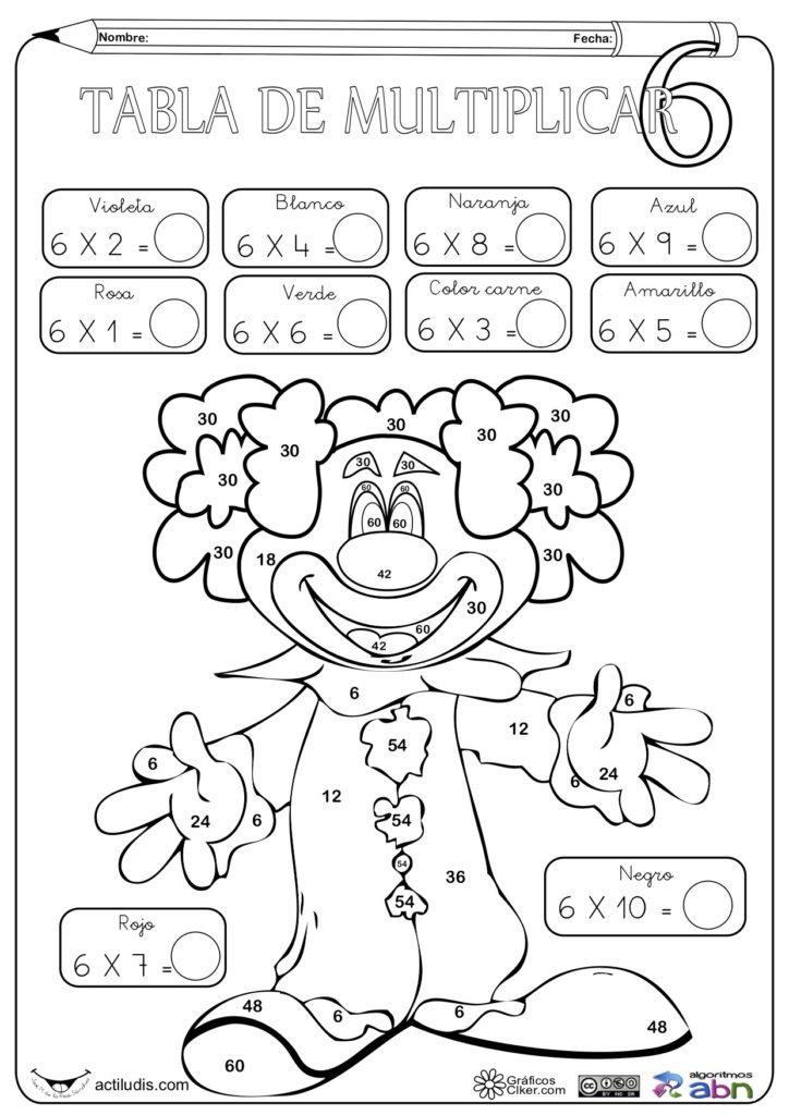 Dibujos De Tablas De Multiplicar Para Colorear Juegos Cokitos