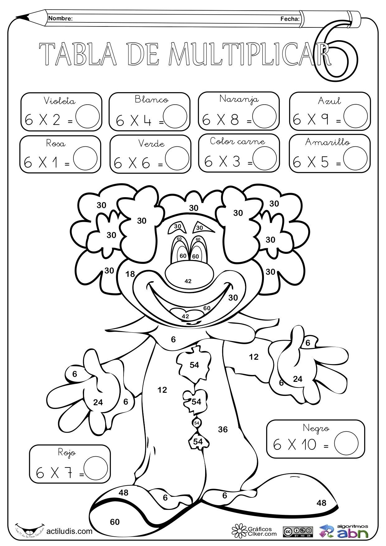 Dibujos De Tablas De Multiplicar Para Colorear Juegos Gratis