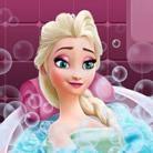 Elsa Frozen, baño de belleza