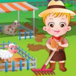 Baby Hazel en la granja de su tío Sam