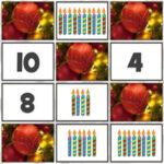 Contar y hacer Parejas de Números en Navidad